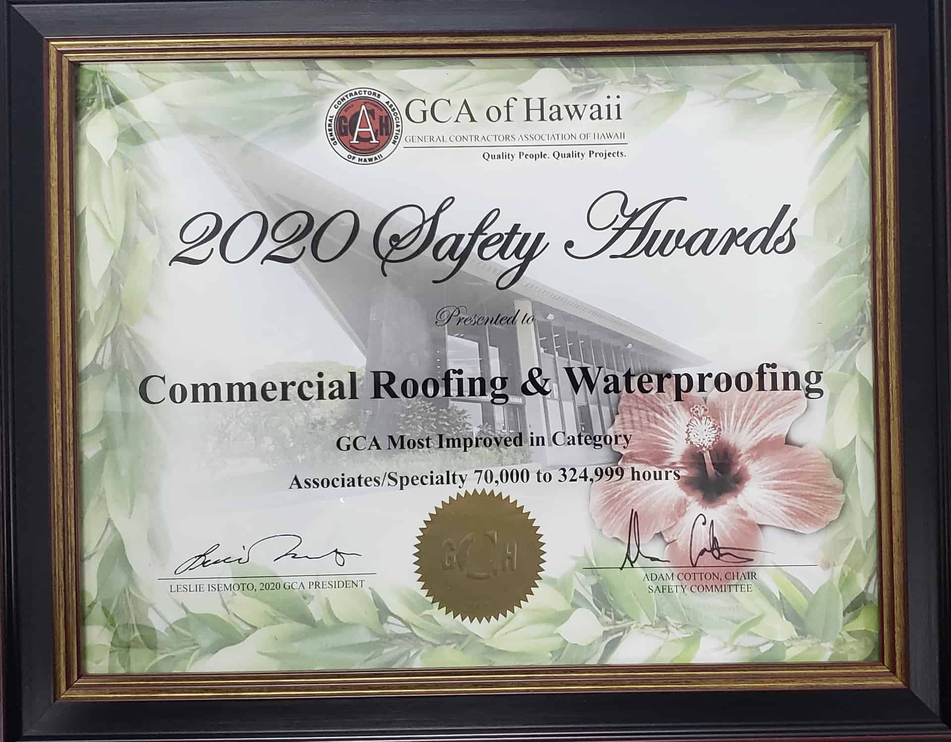 Commercial Roofing 2020 GCA Hawaii Safety Awards